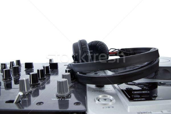 Mezclador auriculares aislado blanco fiesta placa Foto stock © artjazz