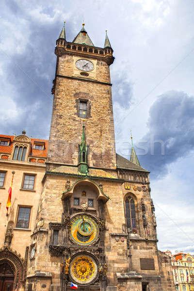 Stockfoto: Toren · sterrenkundig · klok · Praag · hemel · bloemen