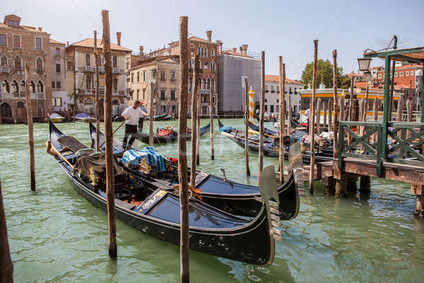 Veneza canal céu cidade pôr do sol mar Foto stock © artjazz