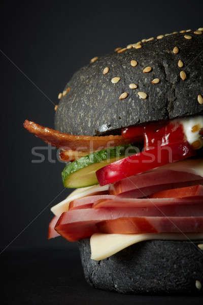 グルメ 黒 ハンバーガー 辛い ソース 背景 ストックフォト © artjazz