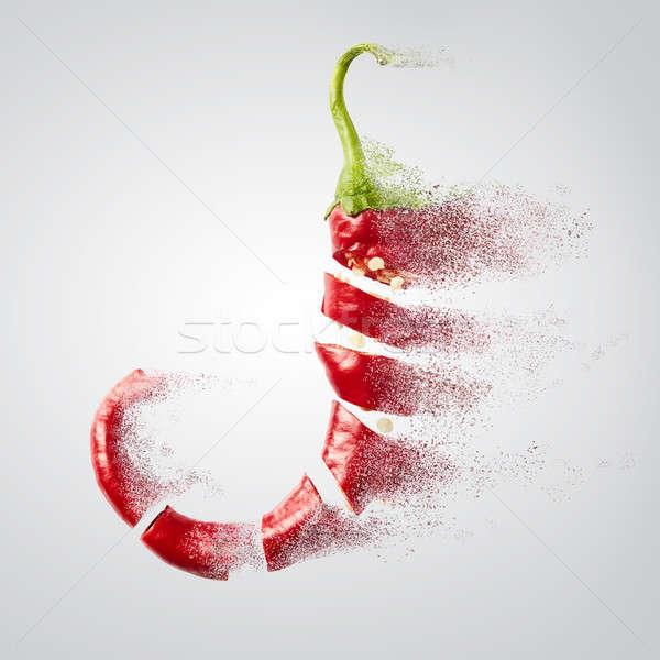 Friss aprított piros chili por légy Stock fotó © artjazz