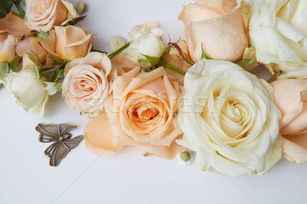 Güller beyaz turuncu kelebek sevgililer günü Stok fotoğraf © artjazz