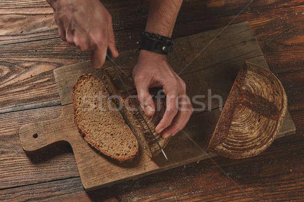 Centeno grano pan cocina madera bordo Foto stock © artjazz