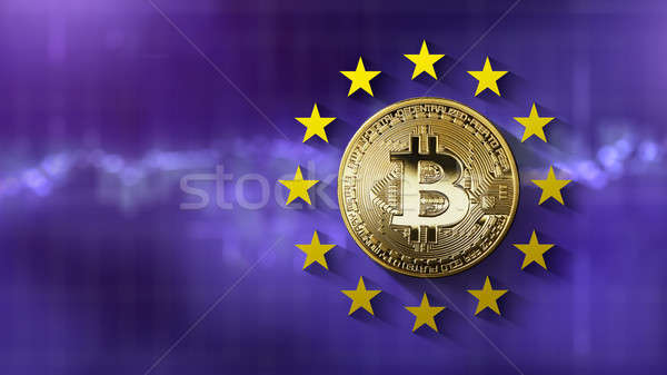 bitcoin Gold coin with European Union stars on a blurred ultraviolet background Stock photo © artjazz