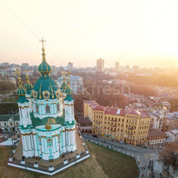 Andrew's Church on Andrew Descent in Kiev Stock photo © artjazz
