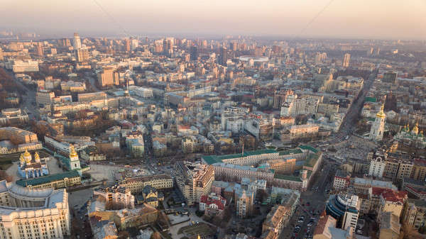 Sophia Tower and square, city center and Olympic Stadium in the city of Kiev Stock photo © artjazz