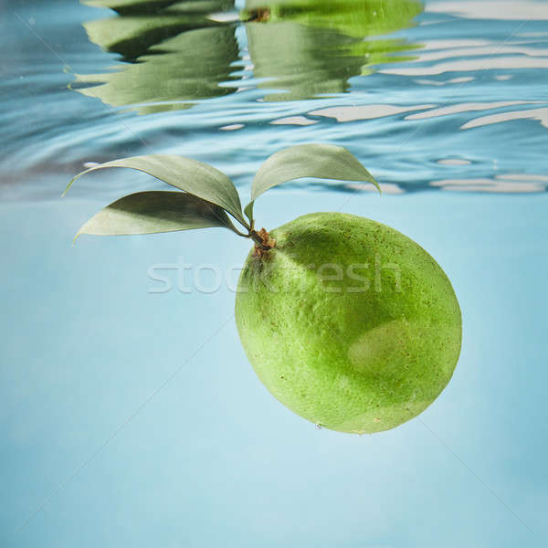 Closeup of a lime spashing into a water Stock photo © artjazz