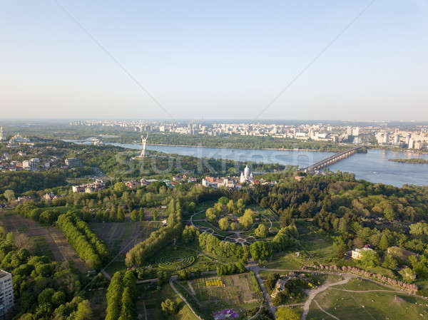 A bird's eye view, panoramic view from the drone to the Botanical Garden, Monument to the Motherland Stock photo © artjazz