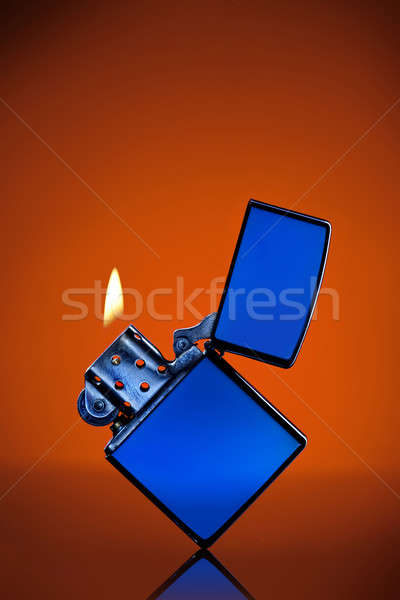 Azul isqueiro chama laranja fogo moda Foto stock © artjazz