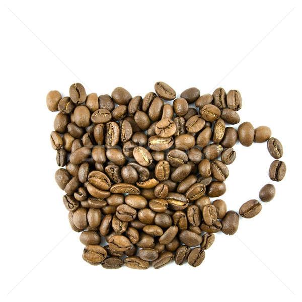 ストックフォト: コーヒーカップ · コーヒー豆 · 孤立した · 白 · コーヒー · 中心