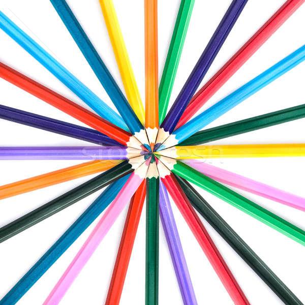 Kolor ołówki odizolowany biały działalności farbują Zdjęcia stock © artjazz