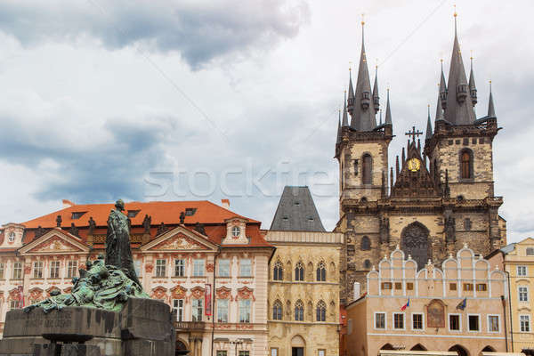 View of Tyn Church in Prague Stock photo © artjazz
