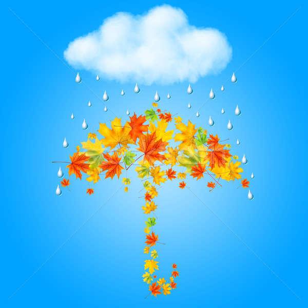 Esernyő őszi levelek felhő eső fa természet Stock fotó © artjazz