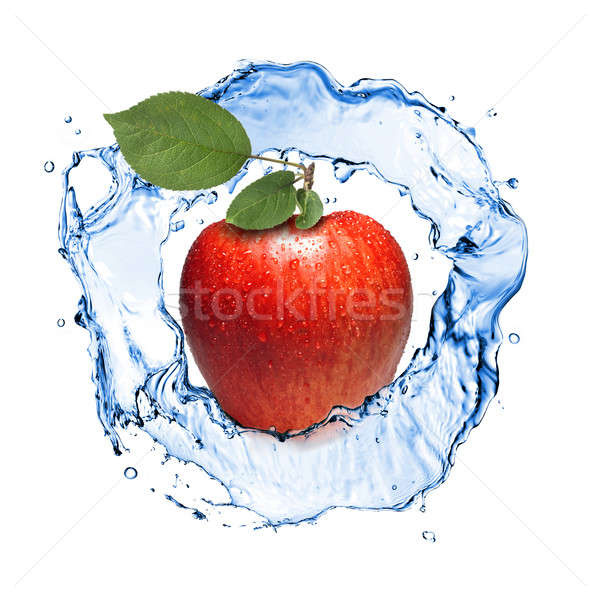 red apple with leaves and water splash isolated on white Stock photo © artjazz