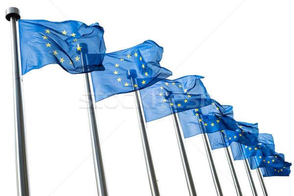European Union flags isolated on white Stock photo © artjazz