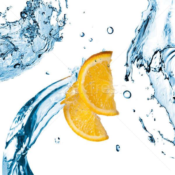 água doce laranja fatias isolado branco Foto stock © artjazz