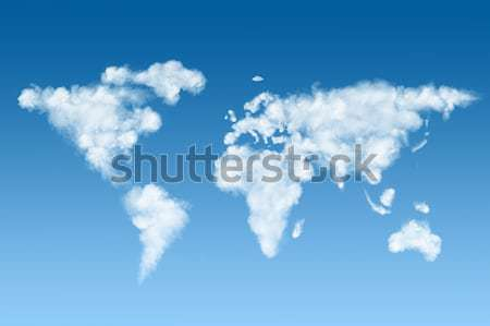 Mapa do mundo branco nuvens céu blue sky globo Foto stock © artjazz