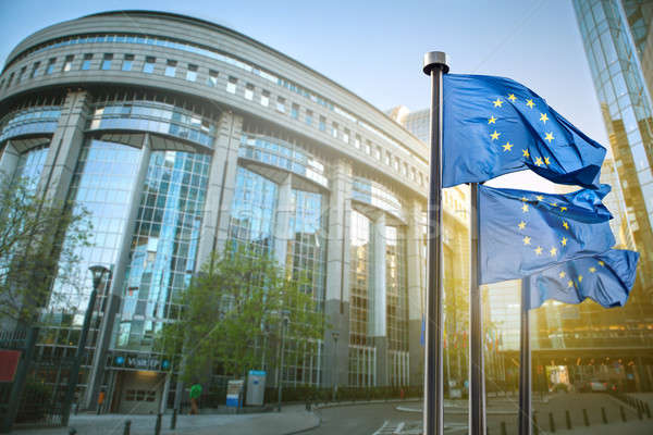 Europese unie vlag parlement Brussel België Stockfoto © artjazz