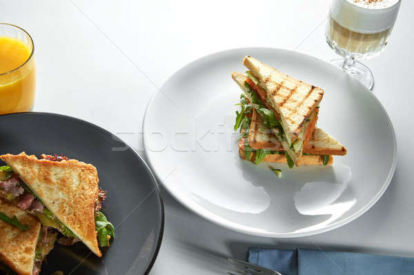 Club sandwiches with different fillings Stock photo © artjazz