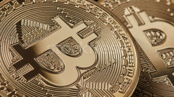 Gold bitcoins new modern currency for bitcoin payments, close up shot Stock photo © artjazz