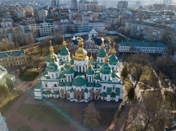 View from the drone of the Cathedral of St. Sophia Cathedral in Kiev city, Ukraine. Stock photo © artjazz