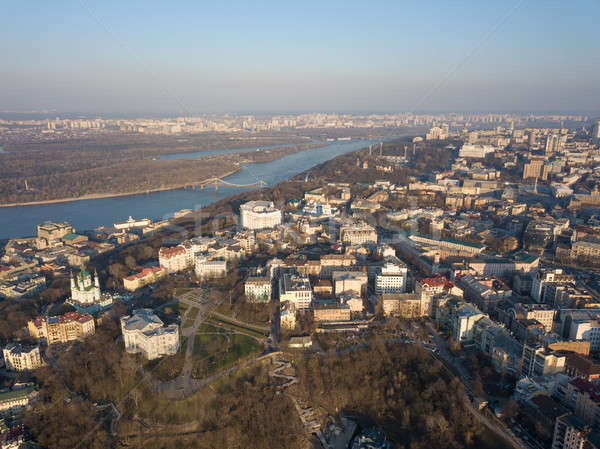 Aerial view of Saint Andrew church. The old town of Kiev, the Podile district Stock photo © artjazz