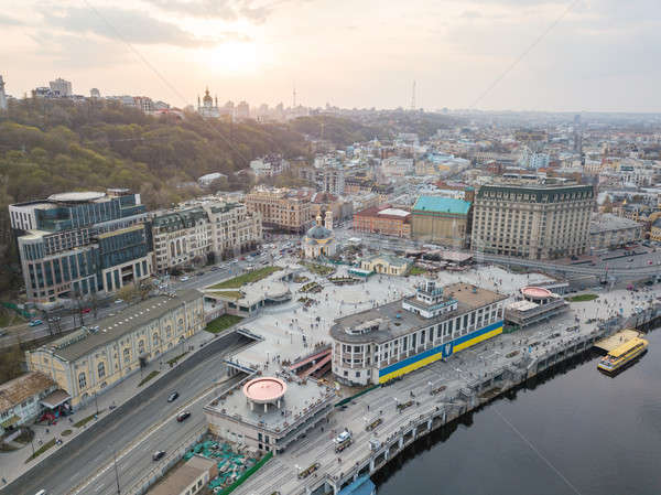 Panoramic view of the river station and Postal square at the sunset in Podil in Kiev, Ukraine Stock photo © artjazz