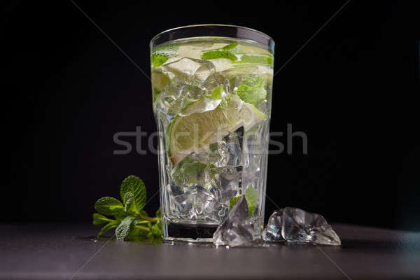 Summer drink glass of water with ice on dark background Stock photo © artjazz
