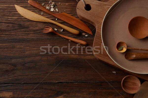 Composition of kitchen devices on wooden table Stock photo © artjazz