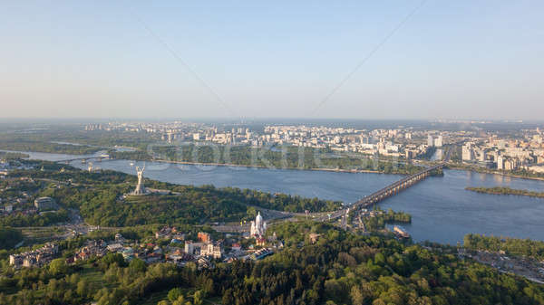 Aerial view panoramic view of the city of Kiev part of the Botanical Garden and the Dnieper River. P Stock photo © artjazz