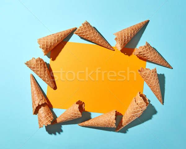 Pattern cialda gelato cartolina giallo carta Foto d'archivio © artjazz