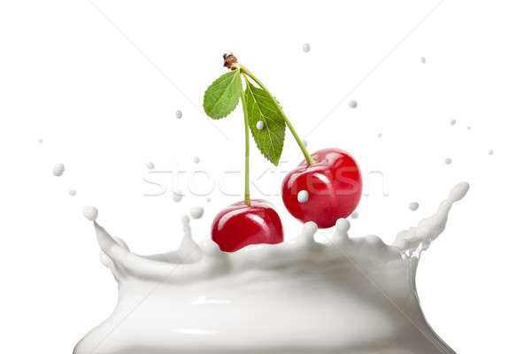 Lait Splash isolé blanche cerise alimentaire Photo stock © artjazz