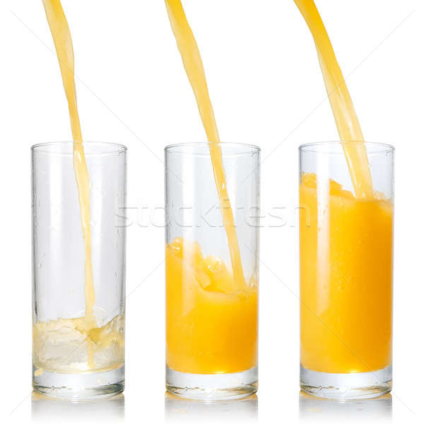 Pouring orange juice into the glass isolated on white Stock photo © artjazz