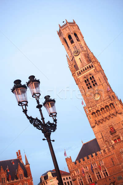 Belfry bell tower on sunset in Bruges, Belgium Stock photo © artjazz