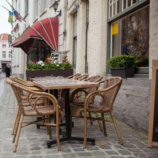 Blurred cafe on street of european city Stock photo © artjazz