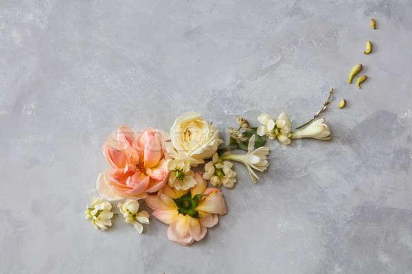 Stockfoto: Bloemen · grijs · valentijnsdag · verschillend · georganiseerd · steeg