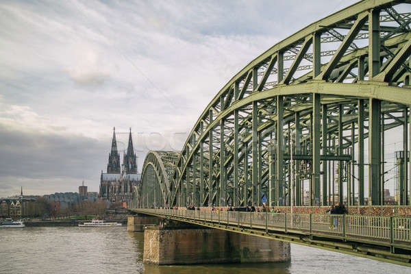View on Cologne Cathedral and Hohenzollern Bridge over the Rhine river, Stock photo © artjazz