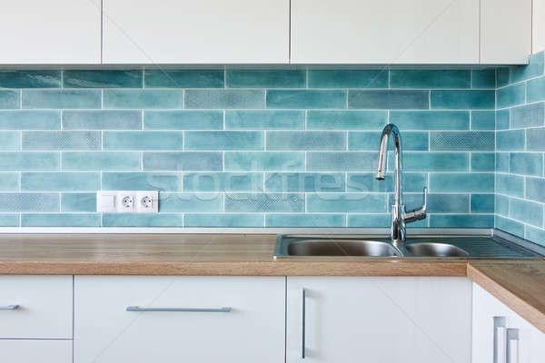 углу современных белый синий кухне чистой Сток-фото © artjazz