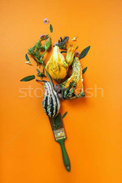 creative autumn composition of pumpkins Stock photo © artjazz