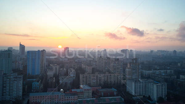Aerial view of the city of Kiev in the morning, Stock photo © artjazz