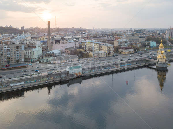 Panoramic view of the Podol district and church of St. Nicholas on the water Kiev city, Ukraine Stock photo © artjazz