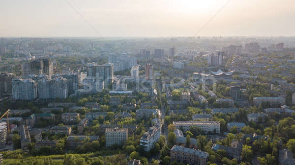 A bird's eye view, panoramic view from the drone to the Pechersk district in the city of Kiev, Ukrai Stock photo © artjazz