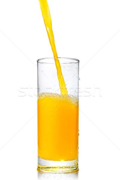 Stock fotó: Narancslé · üveg · izolált · fehér · nyár · ital