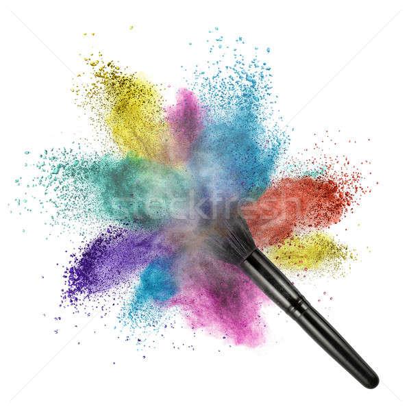 Sminkecset szín por izolált fehér arc Stock fotó © artjazz