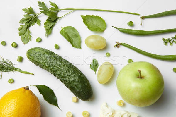 different fruits and vegetables isoleted on white Stock photo © artjazz