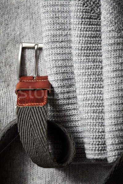 Schwarz Leder Gürtel Stoff grau Frau Stock foto © artjazz