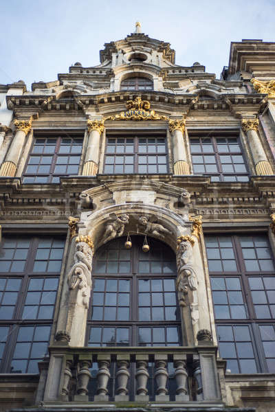 Wall of medieval gothic city hall in Grand Place Stock photo © artjazz