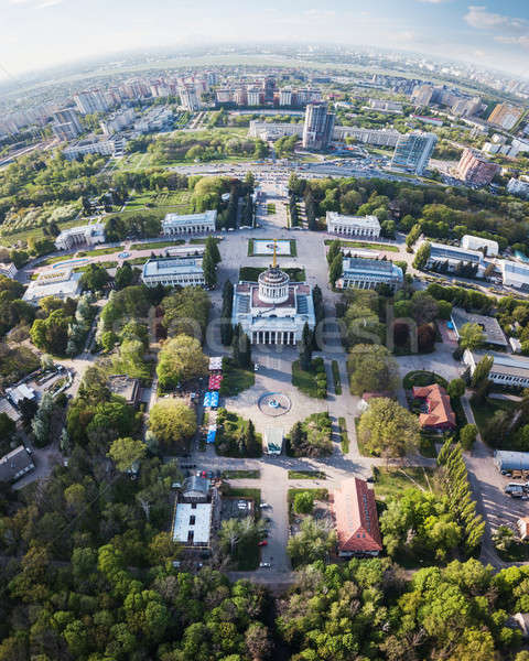 Panoramic view of the exhibition center and the city of Kiev on a spring day,Ukraine. Photo from the Stock photo © artjazz