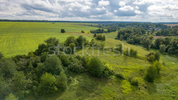 Summer rural landscape with green fields, meadows, forests against cloudy background. Aerial view fr Stock photo © artjazz