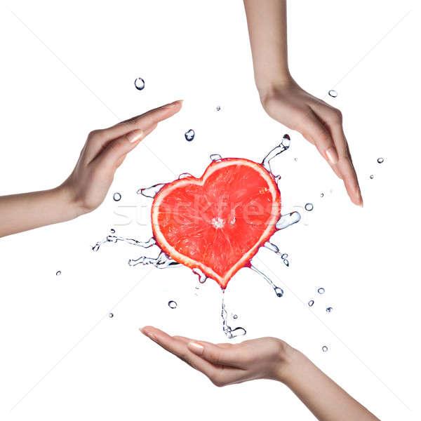 Foto stock: Corazón · pomelo · humanos · manos · blanco
